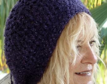 Women Fashion / Unique Purple Crochet Hat / Bohemian Accessories / Women Crochet Hat / Hats By Anne