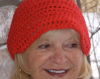 Red Crochet Hat / Unique Cotton Newsboy/ Original Accessories for Women