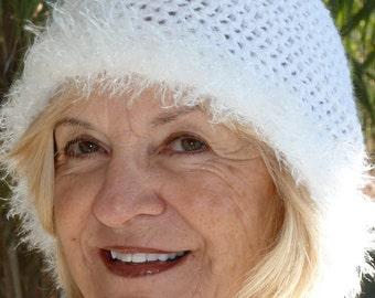 Crochet hat women's white hat winter accessories