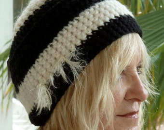 Bohemian Clothing Crochet Hat Black White