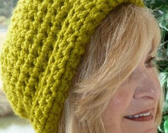 crochet hat women's fashion green winter hat ski accessories
