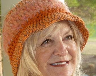 Women Fashion / Bohemian Accessories / Women Crochet Orange Hat / Unique Winter Accessories