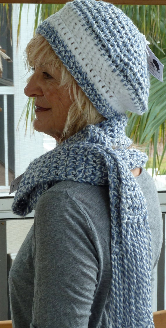 Bohemian Accessories Hat and Scarf Set Blue and White Original Crochet Unique Handcrafted Winter Clothing