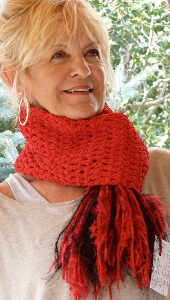 Bohemian Accessories Unique Red Crochet Scarf