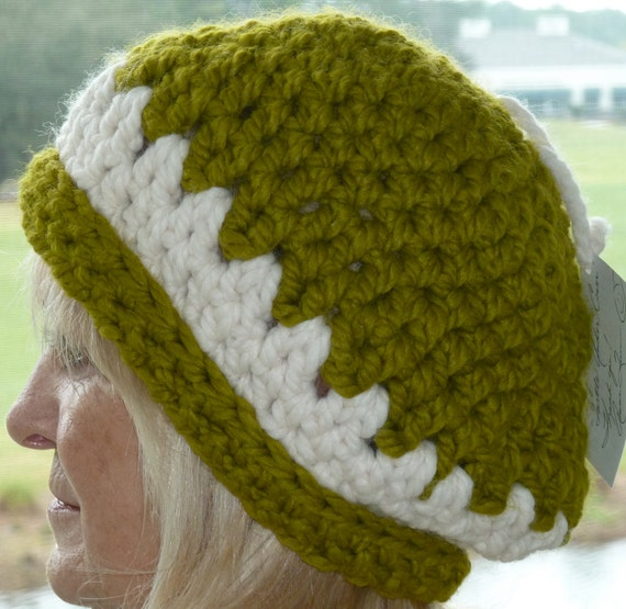 Bohemian Clothing Green White Winter Hat Original Handcrafted Women Accessories