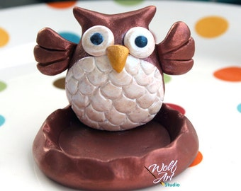 Polymer Clay Owl Ring Holder... Great stocking stuffer