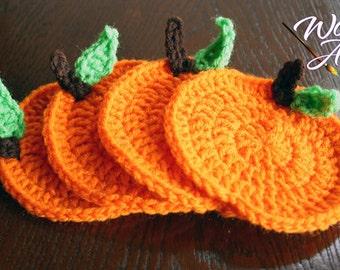 Crochet Orange/Pumpkin Coasters.