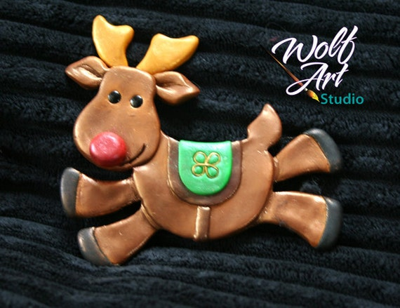 Polymer Clay Reindeer Magnet... Great stocking stuffer