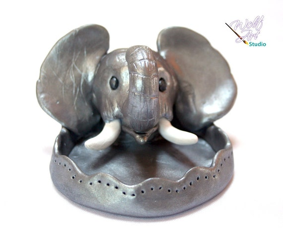 Silver Polymer Clay Elephant Ring/Jewelry Holder