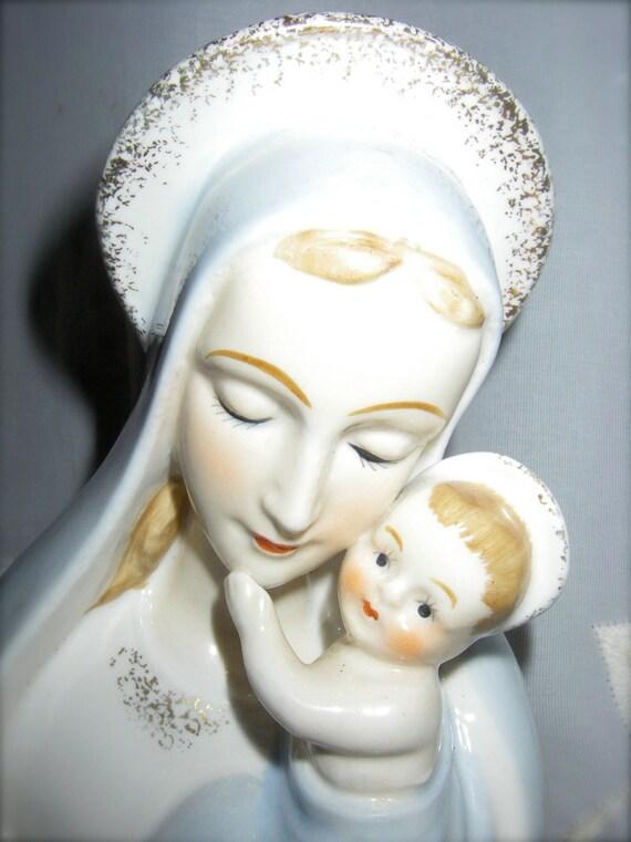 Vintage Porcelain Light Blue Mary and Jesus Planter Madonna and Child Head Vase Numbered