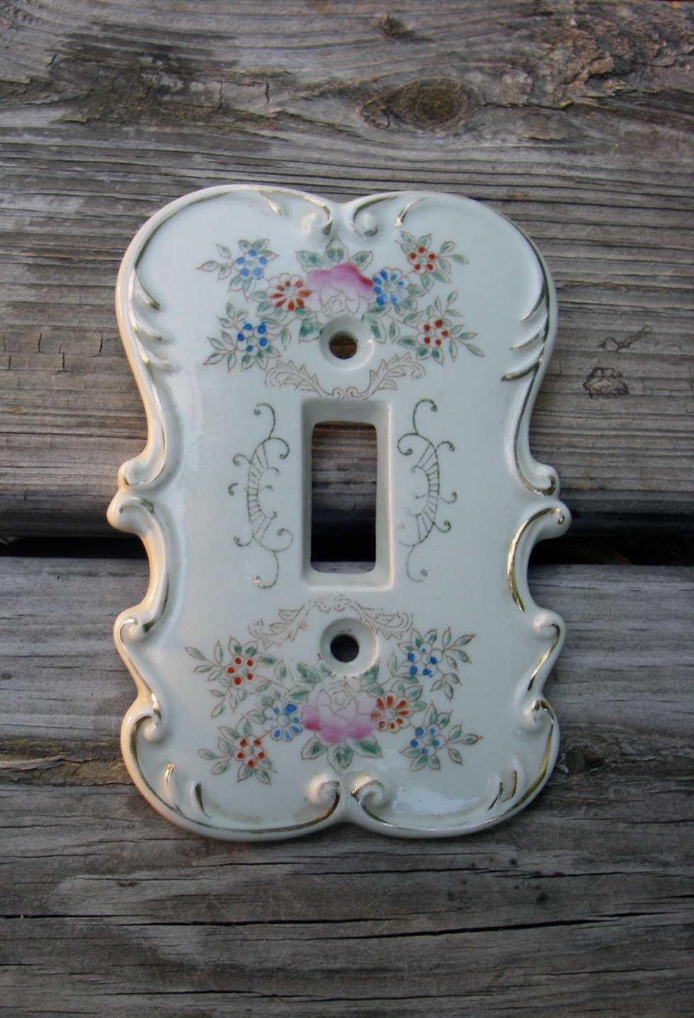 Vintage Porcelain Japan Light Switch Plate Cover Rose Floral