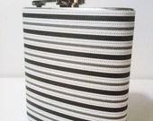 SALE Black, Silver, & White Striped Hip Flask 6 oz