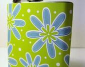 Blue and Green Retro Flower Hip Flask 6oz