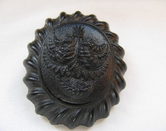 Victorian Mourning Brooch Vulcanite - Original