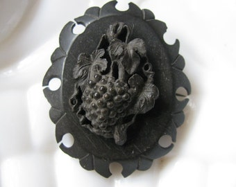 Victorian Mourning Brooch of Vulcanite