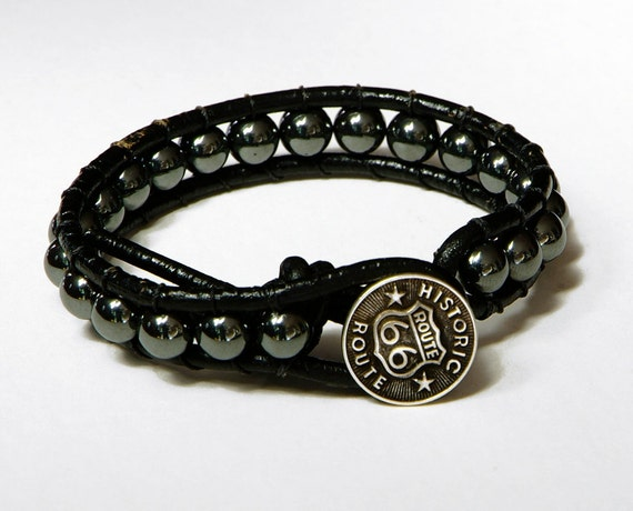 Men's Historic Route 66 Leather Wrap Bracelet - Hematite beaded leather bracelet - black leather single wrap