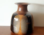 Pottery Craft Large Three Color Bottle Vase