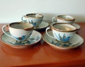 Ken Edwards Mexico Bird Butterfly Cup Saucers