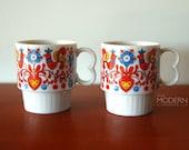 2 Colorful Bird Floral Stacking Mugs Japan Vintage