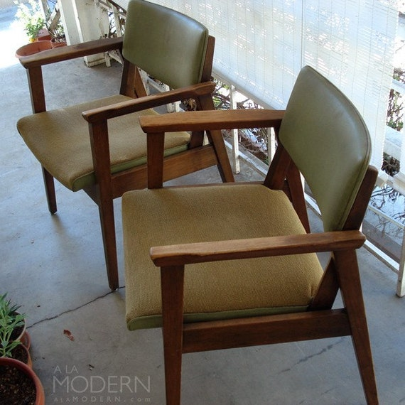2 Midcentury Modern Olive Green Office Chairs Vintage