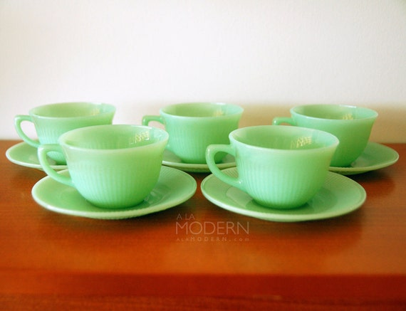 5 Fire King Jadeite Jane Ray Cups Saucers