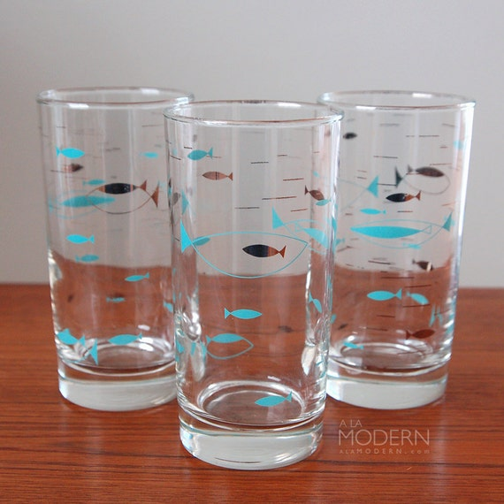 3 Libbey Mediterranean Fish Silver Blue Glasses Atomic