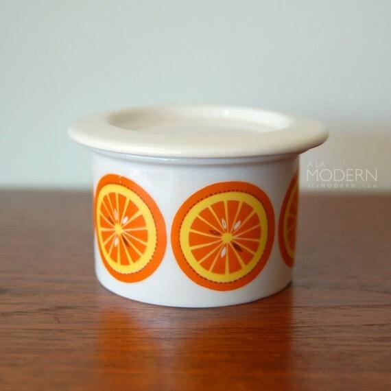 Arabia Finland Pomona Orange Marmalade Jam Jar With Lid