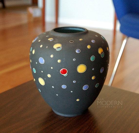 West German Polka Dot Starfield Handmade Vase RESERVED