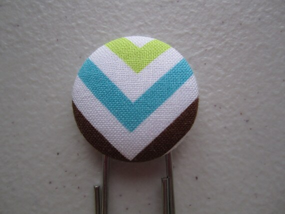 Zigzag Chevron Bookmark - Lime Turquoise Brown - Ann Kelle - Fabric Cover Button Jumbo Paperclip Book Mark
