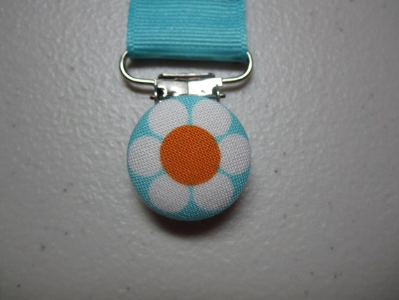White Daisy Pacifier Clip - Teal Grosgrain Ribbon Paci Clip - Remix Summer Daisy Dance - Ann Kelle - Baby Girl