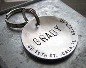 Custom Dog Tag - XL Big Boned - 1.5'' Hand Stamped, Brushed Aluminum