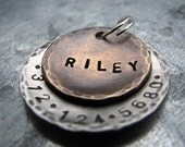 Custom Pet ID Tag / Dog Tag, Riley, in Mixed Metal - Bronze and Aluminum