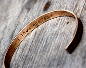 Custom Stamped Cuff Bracelet in Bronze or Aluminum with Secret Message