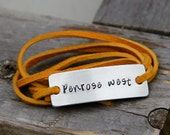 Custom Leather Wrap Bracelet in Hand Stamped Aluminum. Perfect for Roommates, Sororities & Dorms