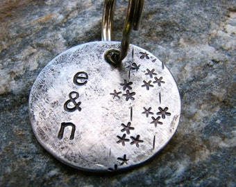 Custom Stamped Keychain or Pendant - Falling Snow - in 1'' Brushed Nickel