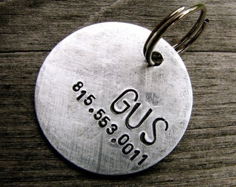Custom Dog Tag - Gus - ID Tag in Brushed Aluminum