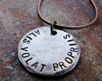 Alis Volat Propriis - She Flies With Her Own Wings Necklace, in Bronze. Great for Graduation