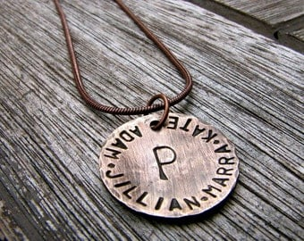 Custom Initial Necklace - Personalized for Mom / Family- A Rustic Family in 3/4'' Bronze