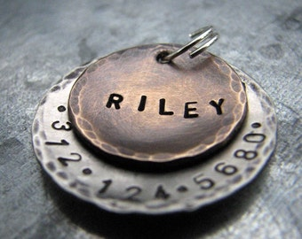Custom Pet Tag / Dog Tag, Riley, in Mixed Metal - Bronze and Aluminum