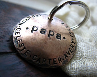 Custom Personalized Keychain for Papa in 1.25''  Hand Stamped Bronze - Great for Grandparents, Dads, Moms & Gifts