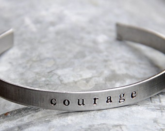 Custom Hand Stamped Cuff Bracelet - Personalized in Bronze or Aluminum - Perfect for Valentine's Day
