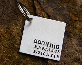 Custom Pet ID Tag - Dominic - in 1.25'' Square Brushed Aluminum