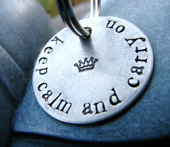 Keep Calm and Carry On - Keychain in Brushed Nickel
