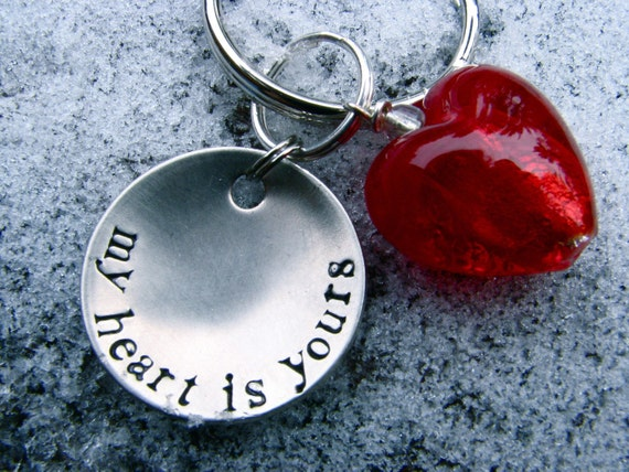 Custom / Personalized Keychain - My Heart Is Yours -in 1'' Brushed Nickel Silver