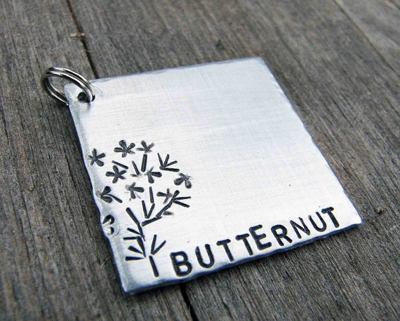 Custom Pet ID Tag, Butternut, in Brushed Aluminum