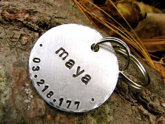 Maya Custom ID Tag - 1.25 inch, in Brushed Aluminum