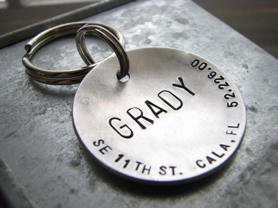 XL Custom Stamped Pet ID Tag - Big Boned - in 1.5''  Brushed Aluminum