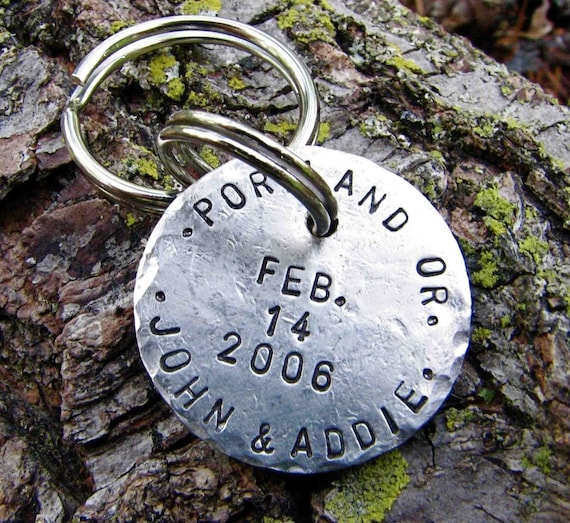 Postmarked with Love - Custom Keychain, Great for Anniversary or Wedding