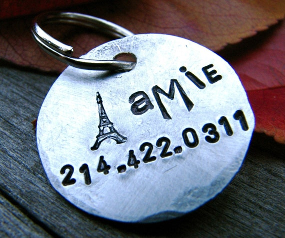 Custom Personalized Pet ID Tag - Amie - in 1'' Brushed Aluminum
