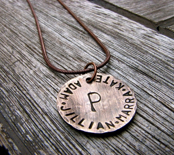 Custom Initial Necklace - A Rustic Family -  in 3/4'', Personalized, Handstamped Bronze